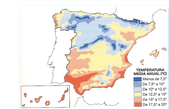 mapa temperaturas medias españa iluminacion natural